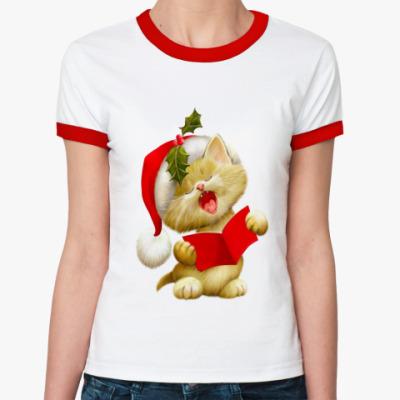 Женская футболка Ringer-T ПОЮЩИЙ КОТЕНОК