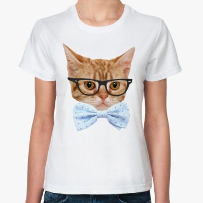 Классическая футболка Кот в очках и бабочке