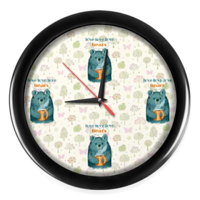 Настенные часы Медведь с кружкой