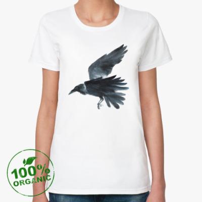 Женская футболка из органик-хлопка Ворон акварель