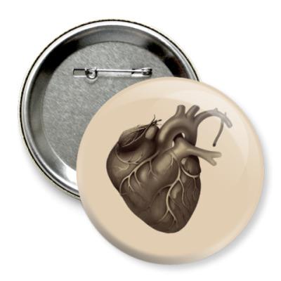 Значок 75мм сердце