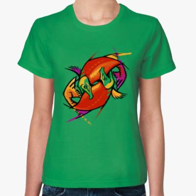 Женская футболка рыбы лосось