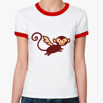 Женская футболка Ringer-T Летучая Макака