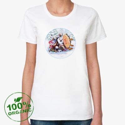 Женская футболка из органик-хлопка Сова - сибирский шаман