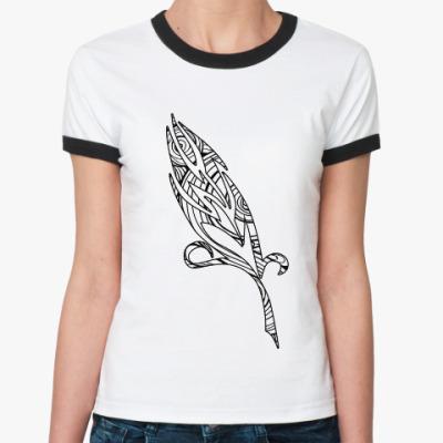 Женская футболка Ringer-T зентангл перышко