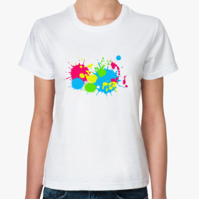 Классическая футболка Разноцветные кляксы