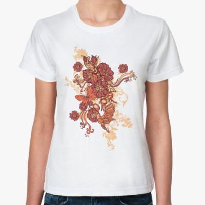 Классическая футболка Цветы и бабочки