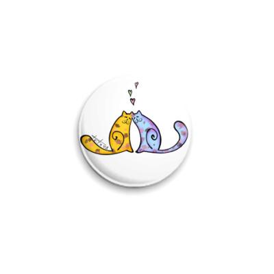 Значок 25мм  Влюблённые коты
