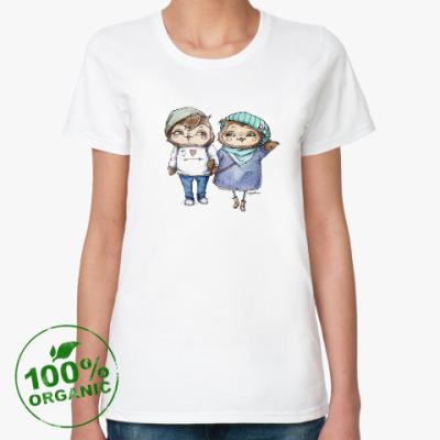 Женская футболка из органик-хлопка Парижская парочка