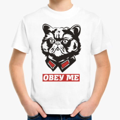 Детская футболка Obey the kitty.