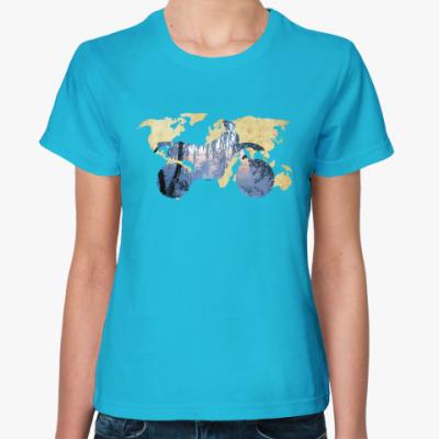 Женская футболка Мотопейзаж
