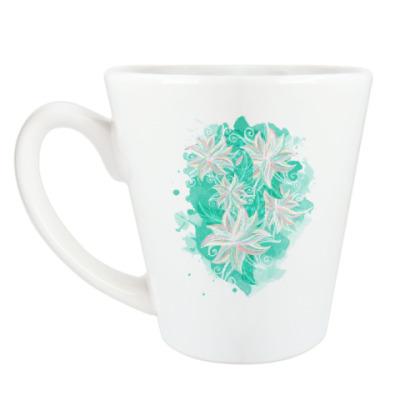Чашка Латте Бирюзовый цветочный орнамент