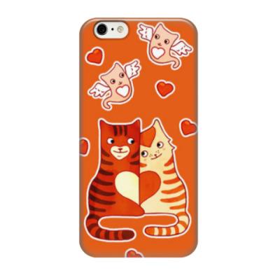 Чехол для iPhone 6/6s Котики и сердечки на День Влюбленных 14 февраля