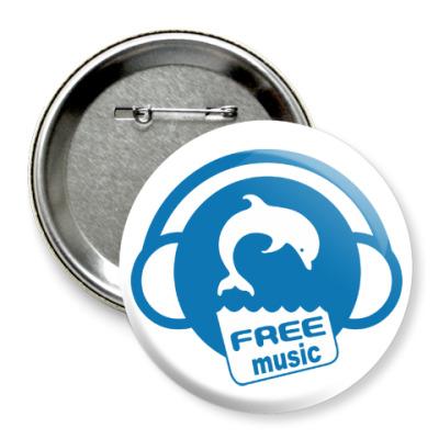 Значок 75мм Free Music