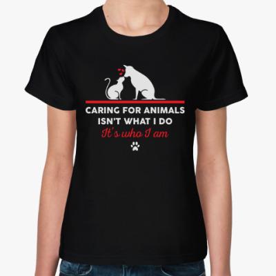 Женская футболка Кот и собака