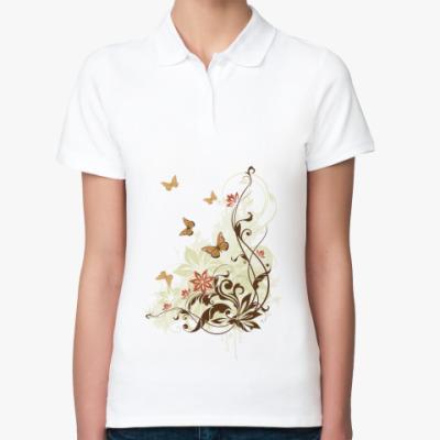 Женская рубашка поло природа,бабочки