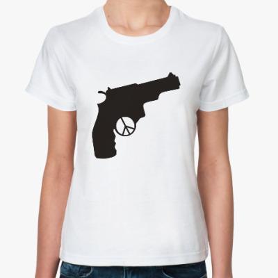 Классическая футболка Пистолет война мир pacifist