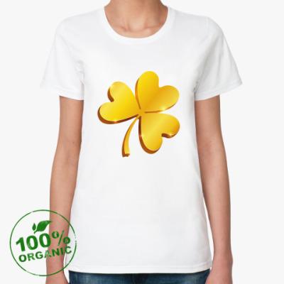 Женская футболка из органик-хлопка Золотой объемный клевер