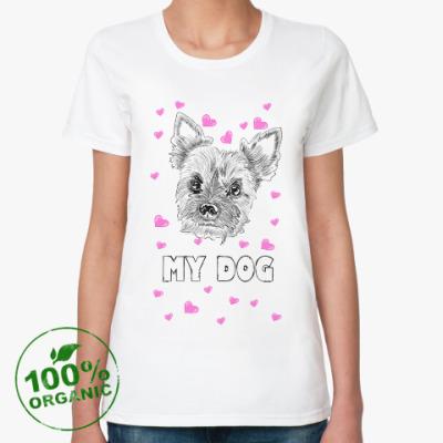 Женская футболка из органик-хлопка Love my little dog