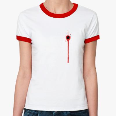 Женская футболка Ringer-T Обезьяна и пистолет
