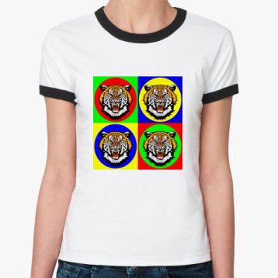 Женская футболка Ringer-T Tiger Pop Art