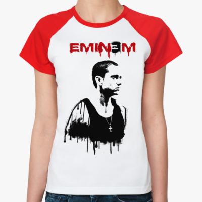Женская футболка реглан Eminem graffity