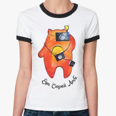 Женская футболка Ringer-T Ешь. Снимай. Люби.