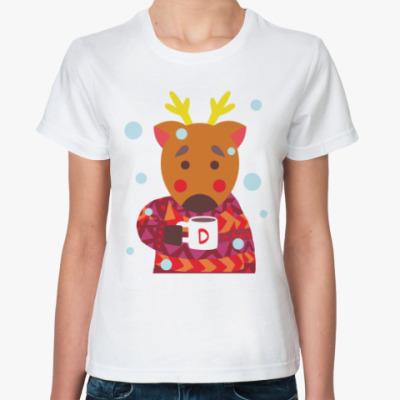 Классическая футболка Олень с чашкой