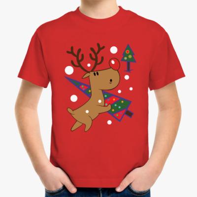 Детская футболка Новогодний олень с ёлкой
