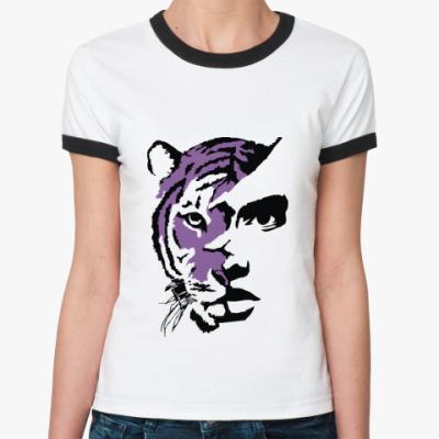 Женская футболка Ringer-T Тигр фиолетовый