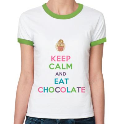 Женская футболка Ringer-T Keep Calm and eat chokolate