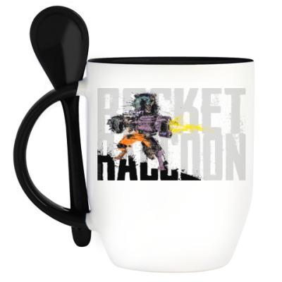 Кружка с ложкой Безбашенный енот Ракета