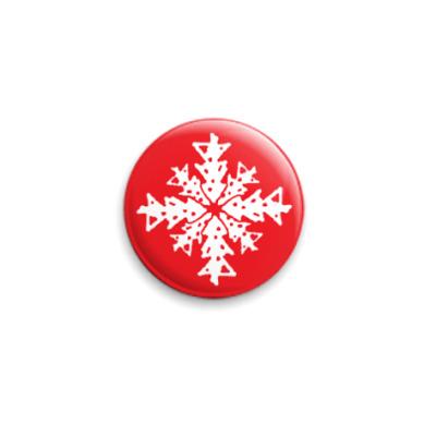 Значок 25мм Елка Снежинка