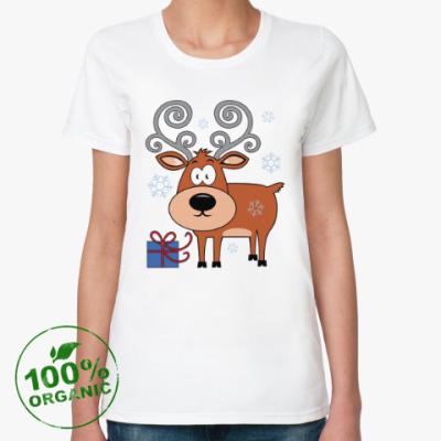 Женская футболка из органик-хлопка Олень с подарком