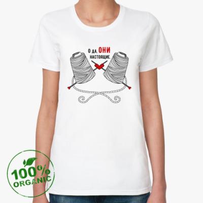 Женская футболка из органик-хлопка Вяжу и не жалею!