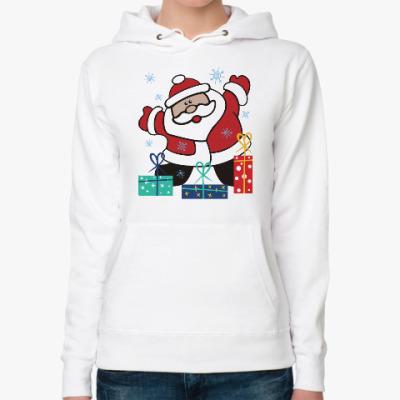 Женская толстовка худи Дед Мороз с подарками