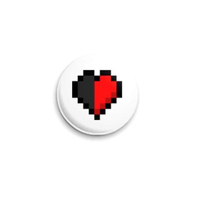 Значок 25мм Minecraft Reverse-Half-Heart
