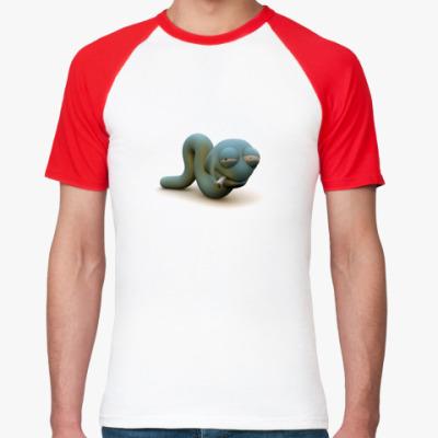 Фото Мужская футболка реглан, бел/красн