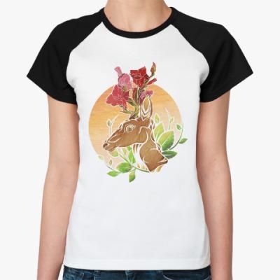 Женская футболка реглан Fall Gladiolus Deer