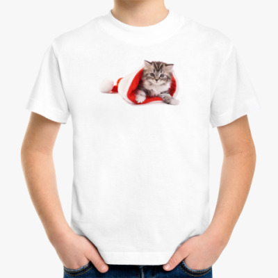 Детская футболка Новогодний котенок