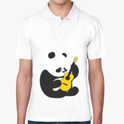 Рубашка поло Панда играет на гитаре