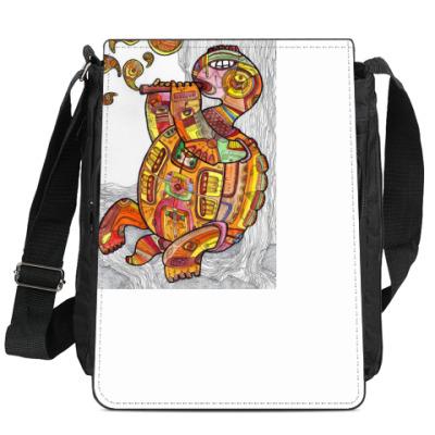 Сумка-планшет Черепаха играющая на дудке