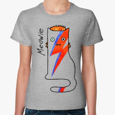 Женская футболка Кот, похожий на David Bowie