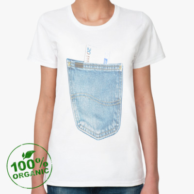 Женская футболка из органик-хлопка Джинсовый карман