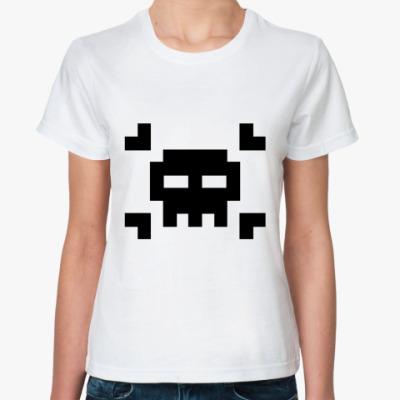 Классическая футболка 8bit skull