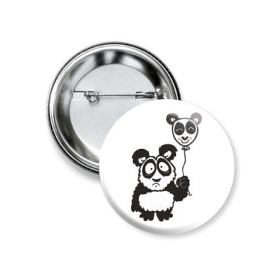 Значок 37мм Панда с шариком