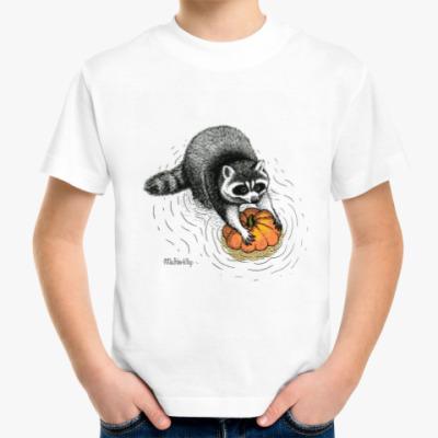 Детская футболка Енот с тыквой