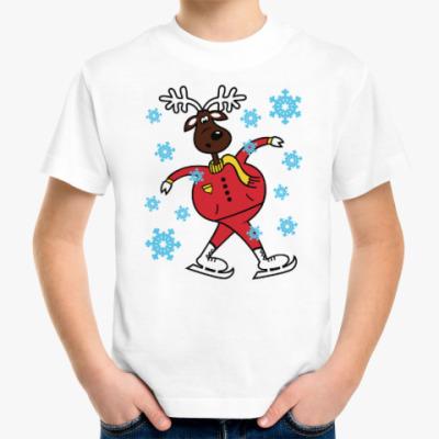 Детская футболка Олень на коньках