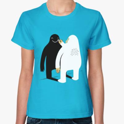 Женская футболка Йети Yeti Снежный человек