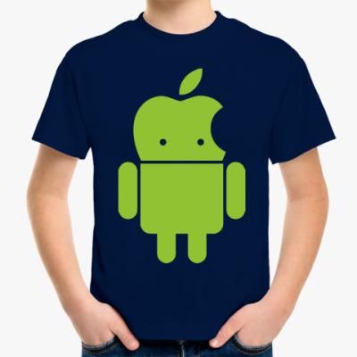 Детская футболка Андроид голова-яблоко